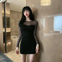Dress Spring 2021 black S,M,L,XL Short skirt singleton  Long sleeves commute Crew neck High waist Solid color Socket One pace skirt routine Others 18-24 years old Korean version fold 31% (inclusive) - 50% (inclusive) brocade polyester fiber