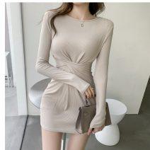 Dress Spring 2021 Black, beige S,M,L,XL Short skirt singleton  Long sleeves commute Crew neck Solid color Socket One pace skirt Type H Korean version fold