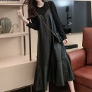 Dress Winter 2020 black L [recommended 90-115 kg], XL [recommended 115-130 kg], 2XL [recommended 130-150 kg], 3XL [recommended 150-170 kg], 4XL [recommended 170-200 kg] Mid length dress Fake two pieces Long sleeves commute Crew neck middle-waisted Solid color Socket other routine 25-29 years old