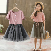 suit Annica story Pink, light gray, net red green, haze blue 110cm,120cm,130cm,140cm,150cm,160cm summer Korean version Short sleeve + skirt 2 pieces Thin money There are models in the real shooting Socket other Pure cotton (100% cotton content) Class B