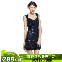 Dress / evening wear Wedding, party, company annual meeting, performance L navy blue Short skirt middle-waisted Spring 2021 Short buttocks Hollowing out polyester fiber 26-35 years old Sleeveless Nail bead Solid color routine Sequins