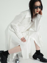 Dress Spring 2021 white S, M Mid length dress singleton  Long sleeves commute Polo collar High waist Solid color Single breasted A-line skirt routine 18-24 years old Type A T2012C17 30% and below cotton