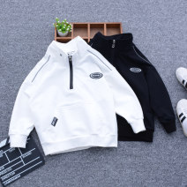 Sweater / sweater Wonderful circle Black, white male The recommended height is about 110cm for Size 110, 120cm for Size 120, 130cm for Size 130, 140cm for size 140, 150cm for size 150 and 160cm for size 160 spring and autumn nothing Korean version Socket routine No model cotton Solid color Class B