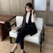 Women's large Spring 2021 Apricot coat, black vest, black trousers Large XL [genuine quality assurance], large 2XL [genuine quality assurance], large 3XL [genuine quality assurance], large 4XL [genuine quality assurance], large 5XL [genuine quality assurance] Other oversize styles Three piece set