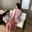 Women's large Spring 2021 Cherry pink coat, brick red suspender, pearl white suit, black suspender skirt, retro green suit, Dousha green suspender skirt Other oversize styles Two piece set commute easy moderate Cardigan Long sleeves other Three dimensional cutting other ZL21004 Wujijia longuette