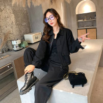 Women's large Spring 2021 Black coat, black trousers Large XL [genuine quality assurance], large 2XL [genuine quality assurance], large 3XL [genuine quality assurance], large 4XL [genuine quality assurance] Other oversize styles Two piece set commute easy ultrathin Cardigan Long sleeves other routine