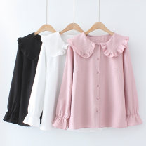 shirt Pink, black, white XL,2XL,3XL,4XL Spring 2021 Cellulose acetate 31% (inclusive) - 50% (inclusive) Long sleeves commute Regular Doll Collar Single row multi button pagoda sleeve Solid color 18-24 years old Straight cylinder Other / other Korean version 9008-123-045 Button