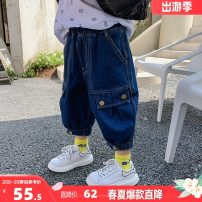 trousers I'M SWEET male 100, 110, 120, 130, 140, 150, 160 Blue, blue, second batch spring and autumn Cropped Trousers Korean version There are models in the real shooting Casual pants Leather belt middle-waisted cotton Don't open the crotch Cotton 97.6% other 2.4% BK00047 Class B Chinese Mainland