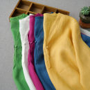 shirt Green, rose red, cream white, yellow, retro blue Average size Summer 2021 hemp 96% and above three quarter sleeve Medium length V-neck