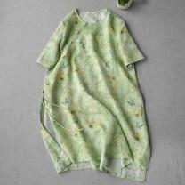 shirt Green print, Purple Print Average size Summer 2020 hemp 96% and above Short sleeve commute Medium length Crew neck Retro
