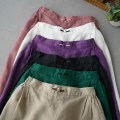 Casual pants Purple, black, cream, skin red, dark green, beige Average size Spring 2020 Cropped Trousers commute 96% and above Simplicity hemp
