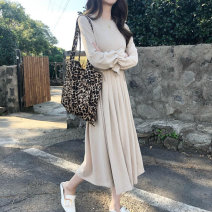 Dress Spring of 2019 Black, apricot, blue Average size longuette singleton  Long sleeves commute Crew neck Loose waist Socket Big swing pagoda sleeve 18-24 years old Type A Other / other lady More than 95% polyester fiber