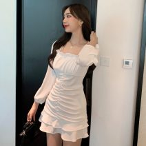 Dress Winter of 2019 White, black Average size singleton  Long sleeves commute square neck Solid color Socket 18-24 years old lady
