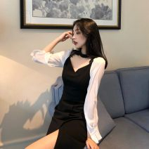 Dress Summer of 2019 Picture color S, M longuette singleton  Long sleeves commute V-neck High waist Socket other other Others 18-24 years old Type A Other / other Korean version 31% (inclusive) - 50% (inclusive)
