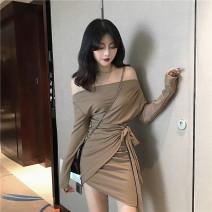 Dress Autumn of 2019 Black, coffee, pink Average size longuette singleton  Long sleeves commute One word collar Solid color Socket Irregular skirt 18-24 years old Korean version Bandage