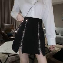 skirt Spring 2020 S,M,L black Short skirt commute High waist A-line skirt Solid color Type A 18-24 years old Korean version