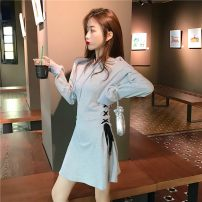Dress Autumn of 2019 Gray, black Average size Short skirt singleton  Long sleeves commute Hood High waist Solid color Socket other other Others 18-24 years old Other / other Korean version 31% (inclusive) - 50% (inclusive) other Chloroprene
