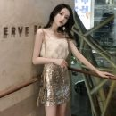 Fashion suit Summer 2020 M. L, average size Lotus, apricot sling, white sling, Sequin skirt 18-25 years old