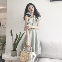 Dress Summer of 2019 green M, L Short skirt singleton  commute High waist Solid color Socket other other Others 18-24 years old lady 31% (inclusive) - 50% (inclusive)