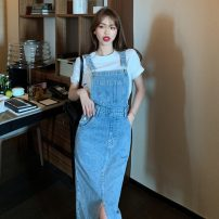 Dress Spring 2021 Blue, black S,M,L Mid length dress singleton  Sleeveless commute square neck High waist Solid color Socket A-line skirt straps 18-24 years old Type A Korean version