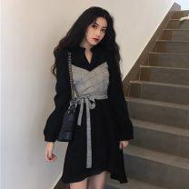 Dress Autumn 2020 Black, khaki Average size Mid length dress Fake two pieces Long sleeves commute 18-24 years old Korean version
