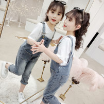 trousers Amuse Yimi female 110, 120, 130, 140, 150, 160, 170 Blue one piece denim suspenders white long sleeves + denim Suspenders summer trousers Korean version There are models in the real shooting rompers Leather belt middle-waisted Denim Don't open the crotch Other 100% DZH-6956 Class B