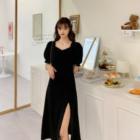 Dress Summer 2021 Long, short S,M,L,XL,2XL,3XL.,4XL. Mid length dress singleton  Short sleeve Sweet Crew neck Socket A-line skirt 18-24 years old princess