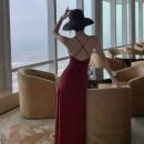 Dress Summer 2020 claret S,M,L,XL longuette singleton  Sleeveless commute V-neck High waist Solid color A-line skirt camisole Type A A thousand beauties Open back, split Chiffon
