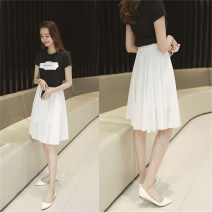 skirt Summer of 2019 S,M,L,XL,2XL,3XL,4XL Mid length dress Versatile High waist Fairy Dress Solid color Type A 91% (inclusive) - 95% (inclusive) Chiffon fold 201g / m ^ 2 (including) - 250G / m ^ 2 (including)