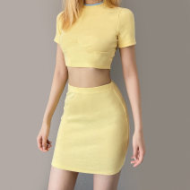 skirt Spring 2021 S,M,L Yellow, blue Short skirt street High waist Solid color Type H K20S10990 other polyester fiber zipper Europe and America