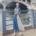 Dress Summer 2021 blue S,M,L,XL longuette singleton  Short sleeve commute Polo collar High waist Solid color Single breasted Ruffle Skirt routine Others 25-29 years old Type A Korean version Splicing 31% (inclusive) - 50% (inclusive) other polyester fiber