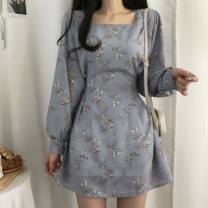 Dress Spring 2021 Blue, black, beige Average size longuette singleton  Long sleeves commute other Broken flowers other other routine Others 18-24 years old Type A Korean version