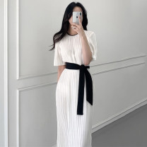 Dress Summer 2021 white Average size longuette singleton  Short sleeve commute Crew neck Loose waist Solid color Socket Pleated skirt routine Others 18-24 years old Type A JF clothing Korean version fold 81% (inclusive) - 90% (inclusive) other other