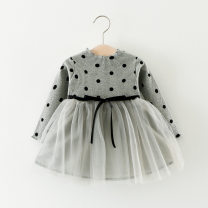 Dress female Other / other 73cm,80cm,90cm,100cm Other 100% spring and autumn leisure time Dot other Splicing style Class A 12 months, 6 months, 9 months, 18 months, 2 years, 3 years