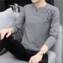 T-shirt Youth fashion Black, dark grey, white, orange, blue grey routine XL,L,M,XXL,XXXL Tagkita / she and others Long sleeves Crew neck Self cultivation Other leisure spring QY927 youth American leisure other 2019 Broken flowers printing Cotton ammonia other