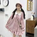 Dress Spring of 2019 Lotus root powder One size fits all, XXS pre-sale Middle-skirt singleton  Long sleeves Sweet Doll Collar High waist Solid color Socket other Petal sleeve Others 18-24 years old Type A Other / other 81% (inclusive) - 90% (inclusive) Chiffon polyester fiber solar system