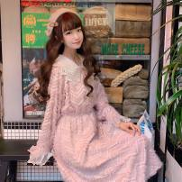 Dress Winter 2020 Pink One size fits all, XXS pre-sale Mid length dress singleton  Long sleeves Sweet Doll Collar High waist Socket A-line skirt pagoda sleeve Others 18-24 years old Type A solar system