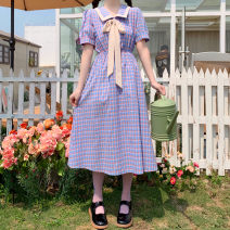 Dress Summer 2021 Blue check One size fits all, XXS pre-sale Mid length dress singleton  Short sleeve Sweet Doll Collar High waist lattice Socket A-line skirt puff sleeve Others 18-24 years old Type A Frenulum 9097# 71% (inclusive) - 80% (inclusive) other other solar system