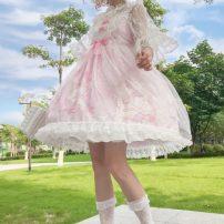 Dress Summer of 2019 Pink jsk, apricot jsk, blue jsk, purple jsk, white undergarment, veil Average size Middle-skirt Sleeveless Sweet One word collar High waist Socket Princess Dress straps 18-24 years old Type A Other / other Lolita