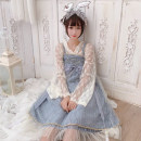 Dress Autumn of 2019 Apricot undergarment, grey blue suspender skirt, leather powder suspender skirt One size fits all, XXS pre-sale Middle-skirt Two piece set Long sleeves Sweet One word collar High waist Princess Dress other camisole 18-24 years old Type A Other / other solar system