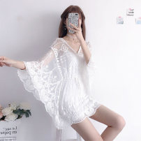 Lace / Chiffon Summer of 2019 Apricot, white One size fits all, XXS pre-sale three quarter sleeve Sweet Socket Two piece set Self cultivation Medium length V-neck pagoda sleeve 18-24 years old Other / other solar system