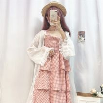 Dress Spring 2021 Sunscreen, pink, yellow One size fits all, XXS pre-sale Mid length dress singleton  Long sleeves Sweet One word collar High waist lattice Socket A-line skirt other camisole 18-24 years old Type H solar system