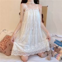 Pajamas / housewear set female Other / other One size fits all, XXS pre-sale White nightdress spandex Sweet pajamas summer Thin money One word collar Solid color youth printing Middle-skirt