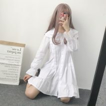 Dress Spring 2021 white One size fits all, XXS pre-sale Mid length dress singleton  Long sleeves Sweet Doll Collar Loose waist Single breasted A-line skirt pagoda sleeve Others 18-24 years old Type A Other / other 31% (inclusive) - 50% (inclusive) cotton college