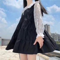 Dress Autumn 2020 Vest skirt, white coat, black coat One size fits all, XXS pre-sale longuette singleton  Long sleeves Sweet Crew neck High waist Solid color Socket Cake skirt routine Others 18-24 years old Type A polyester fiber solar system
