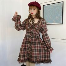 Dress Spring 2020 Picture color (send collar) One size fits all, XXS pre-sale Middle-skirt singleton  Long sleeves Sweet High waist lattice Socket other Others 18-24 years old Type A 31% (inclusive) - 50% (inclusive) other solar system