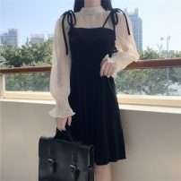Dress Spring 2021 black One size fits all, XXS pre-sale Middle-skirt Fake two pieces Long sleeves Sweet Crew neck middle-waisted A-line skirt Petal sleeve Others 18-24 years old Type A Other / other Embroidery 31% (inclusive) - 50% (inclusive) polyester fiber solar system
