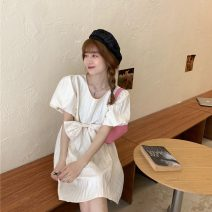 Dress Summer 2021 Off white, black S, M Middle-skirt singleton  Short sleeve Sweet Crew neck Loose waist Socket puff sleeve 18-24 years old bow 30% and below princess