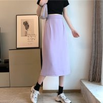 skirt Summer 2021 S,M,L,XL Purple, black Mid length dress Sweet High waist other Solid color Type A 18-24 years old 30% and below college