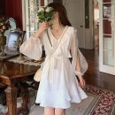 Dress Spring 2021 White, black S,M,L Middle-skirt singleton  Long sleeves Sweet V-neck Elastic waist Solid color Socket Irregular skirt other Others 18-24 years old Type A Ruffles, stitching, bright silk 30% and below princess